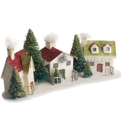 glittered miniature christmas village christmas and