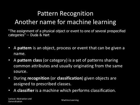 pattern recognition generalization generalization abstraction