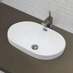 semi recessed bathroom sinks decolav classically redefined semi recessed oval bathroom