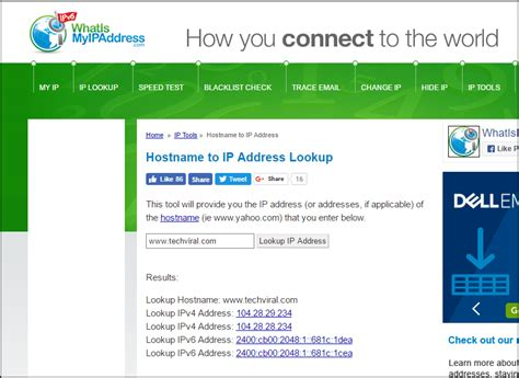 Address To Ip Lookup How To Find Server S Ip Address Of Any Website