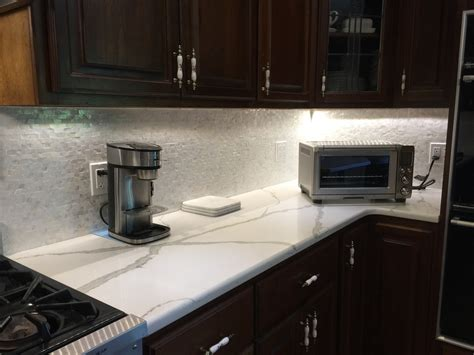 groutless brick of pearl shell tile kitchen