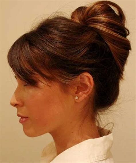 bun hairstyles at home 20 bun hairstyles with bangs hairstyles haircuts 2016