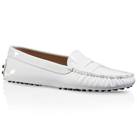 tod s gommino driving shoes in patent leather in white lyst