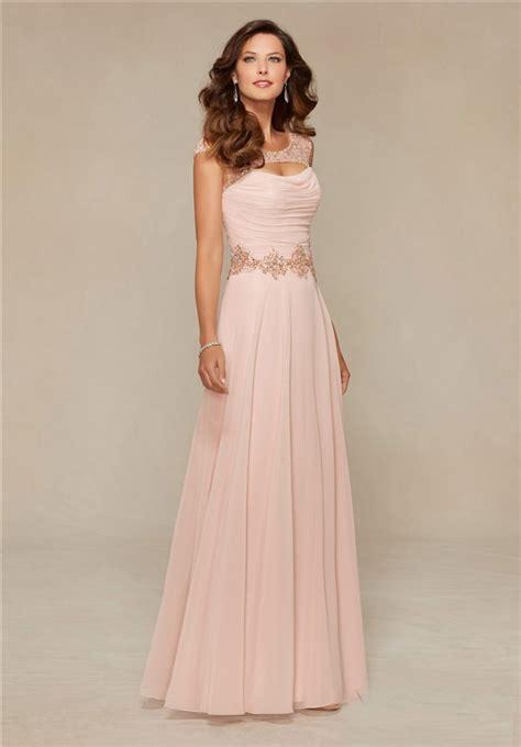 blush colored maxi dress sheath front cut out blush pink chiffon beaded