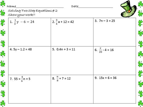 One Step Equations Worksheet by One And Two Step Equations Worksheet Worksheets