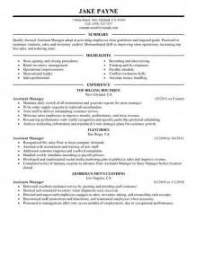 Assistant Manager Retail Sle Resume by Assistant Manager Resume Exle Retail Sle Resumes Livecareer