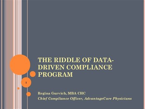 Mba Health Care Compliance Concordia Linkedin by The Riddle Of Data Driven Compliance Program 2014 Hcca