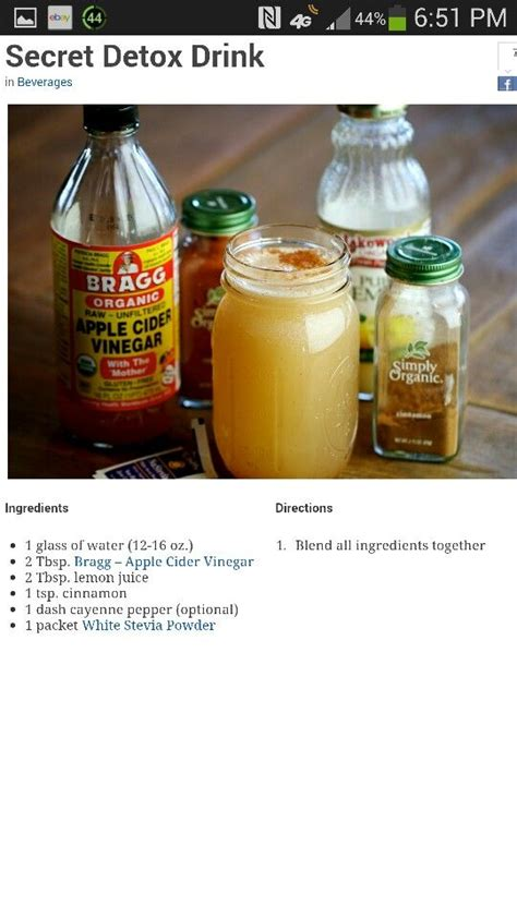 Apple Cider Vinegar For Detox by Apple Cider Vinegar Detox Drink Detox Drink Menu