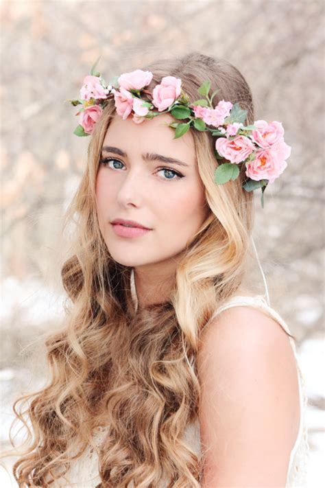 Wedding Hair With Roses by Flower Crown Pink Wreath Bridal Hair Woodland Wedding