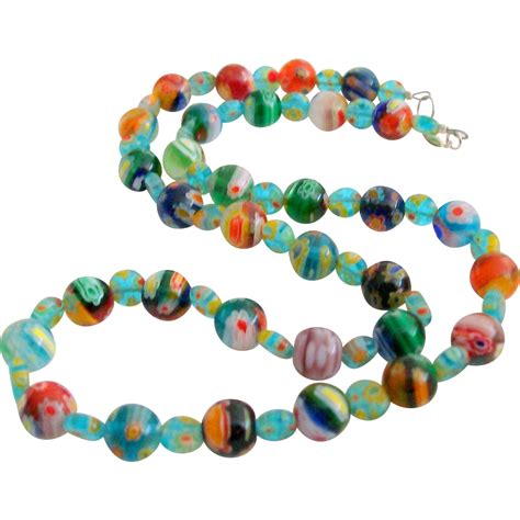 murano glass bead necklace millefiori italian glass bead necklace sold on ruby