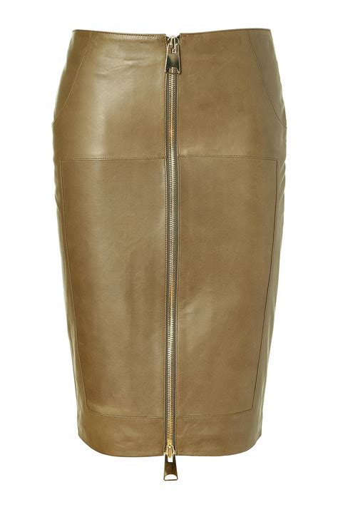 hakaan khaki leather pencil skirt in beige khaki lyst