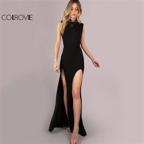 Dress Lgs Original 1 colrovie black mesh back maxi dress 2017 slit club bodycon summer