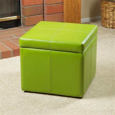 Barnes Leather Microfiber Cube Storage Ottoman Footstool Lime Green Storage Ottoman