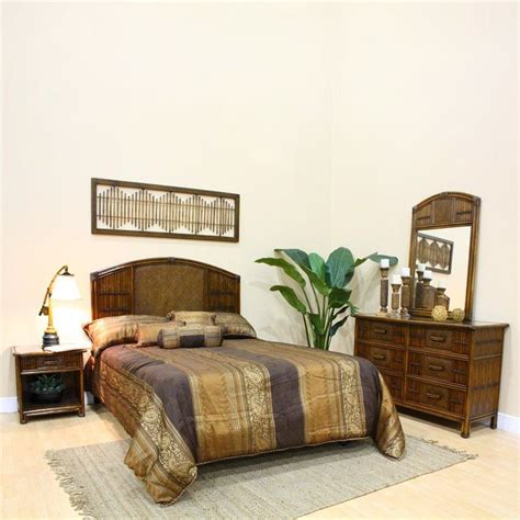 wicker bedroom set shop hospitality rattan polynesian 4 piece queen bedroom