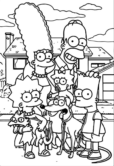 simpsons house coloring page simpsons family at street coloring page wecoloringpage