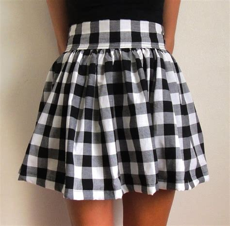 checked pattern high waisted puff skirt just fashion