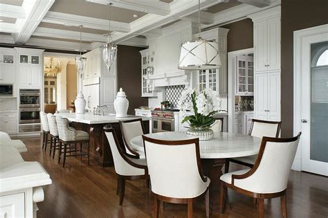 Eat In Kitchen Furniture by Round White Marble Top Dining Table With Ivory Linen