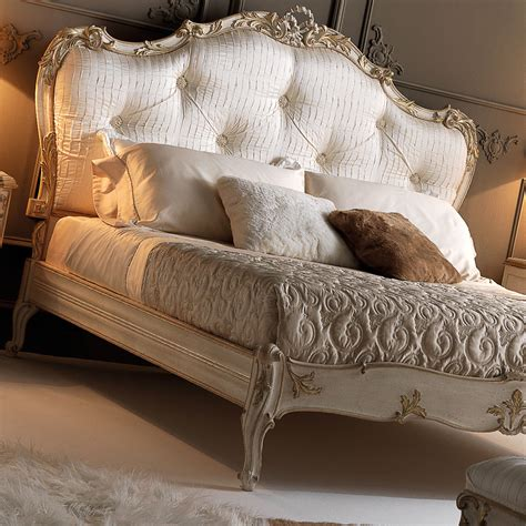 luxury upholstery italian rococo luxury silk button upholstered bed
