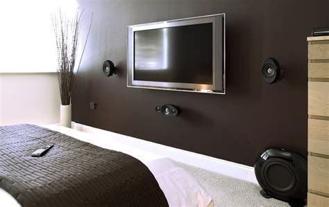 bedroom speakers flat screen tv interior design ideas