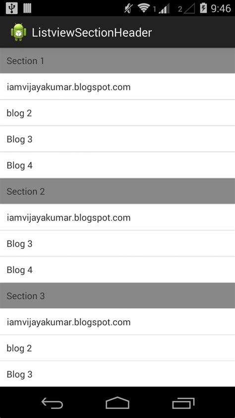 android layout header java how to get the section position on listview in