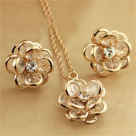 flower design gold earrings vivid dimensional flower design rose gold necklace and