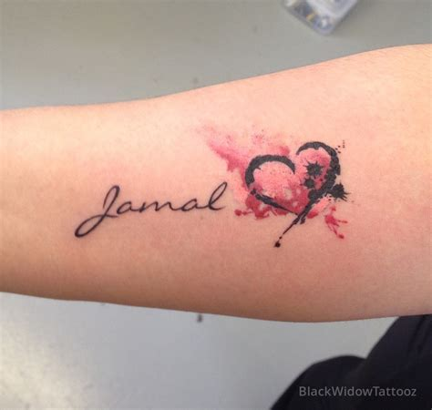 watercolor heart name tattoo pinterest watercolor