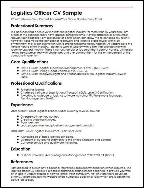 resume format for logistics logistics officer cv sle myperfectcv