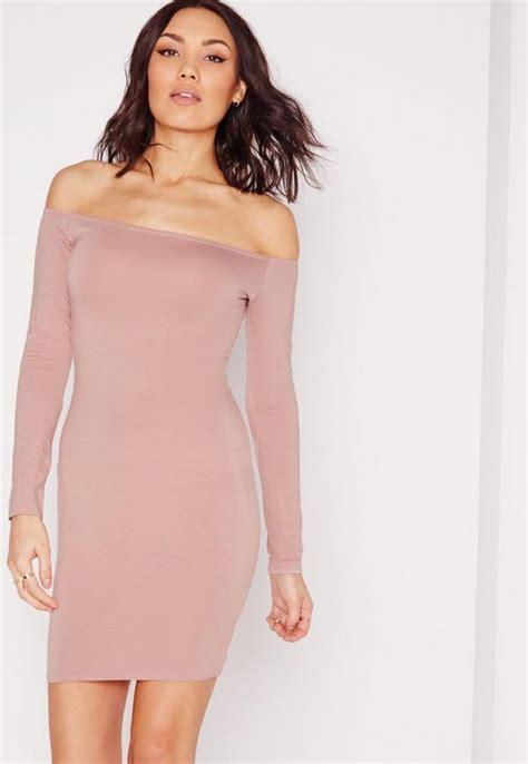 Sleeve Bodycon Dress bardot sleeve bodycon dress pink missguided