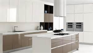 white kitchen island with brown kitchen cabinet design