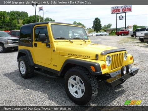 jeep rubicon yellow solar yellow 2006 jeep wrangler rubicon 4x4 slate