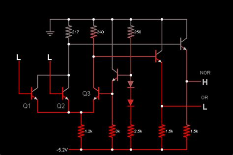 transistor npn simulation ecl nor or circuit simulator