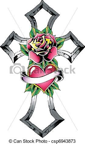 vectors of cross heart rose ribbon sign csp6943873