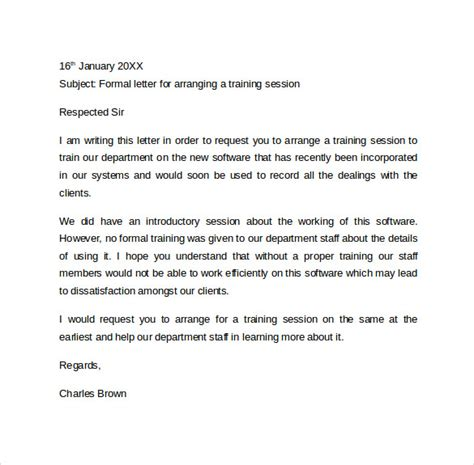 Formal Letter For Course Formal Letter Format 9 Free Sles Exles Formats