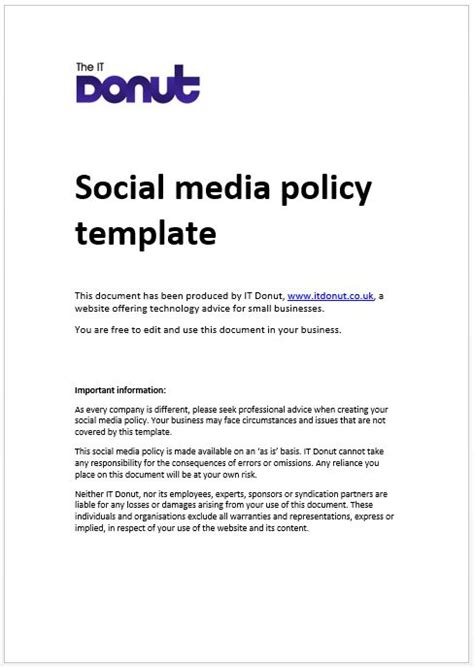 social media policy template 28 social media guidelines template social media policy