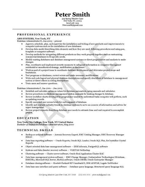 Oracle Database Administrator Resume Sample