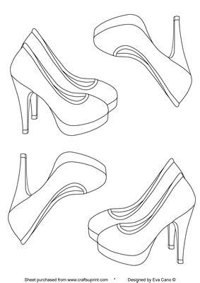 shoe template for card high heels digital st cup95302 750 craftsuprint