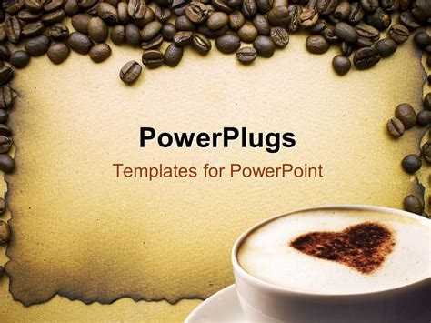 Powerpoint Template Lots Of Coffee Beans Around A White Coffee Cup 7571 Coffee Powerpoint Template Free