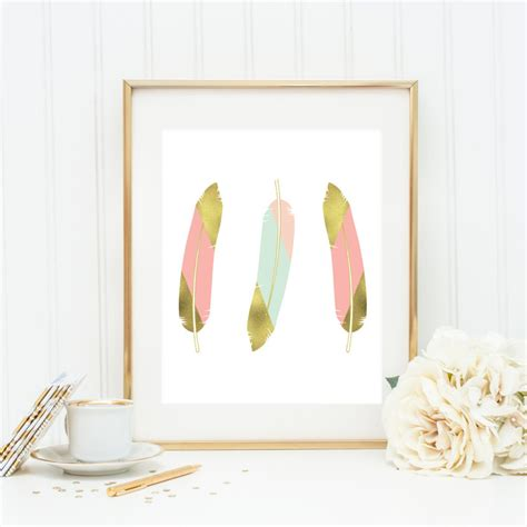 Mint And Coral Home Decor Gold Feather Wall Decor Mint And Coral Feather