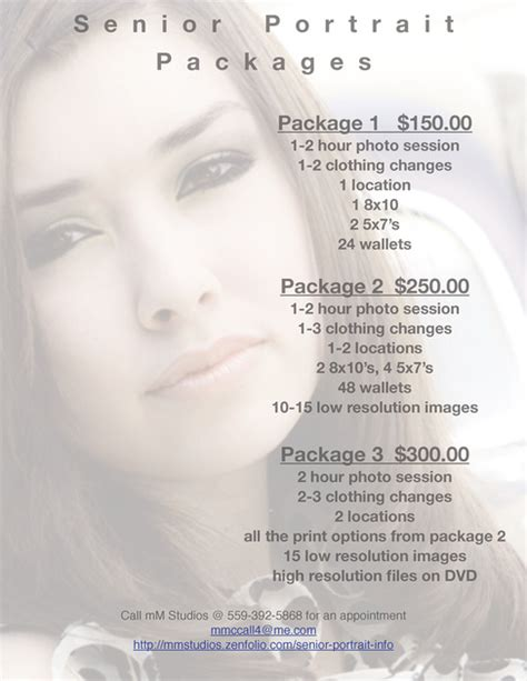 pictures and prices of mm studios senior portrait packages prices