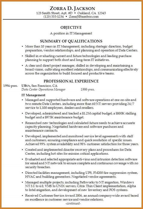 Resume Template Summary by Gallery Of Executive Summary Resume Exles
