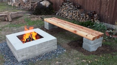 make concrete bench fascinating cinder block fire pit designs building a fire