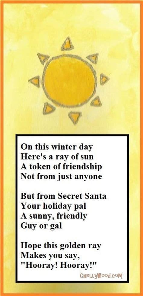 secret friend poem 25 best ideas about secret santa poems on