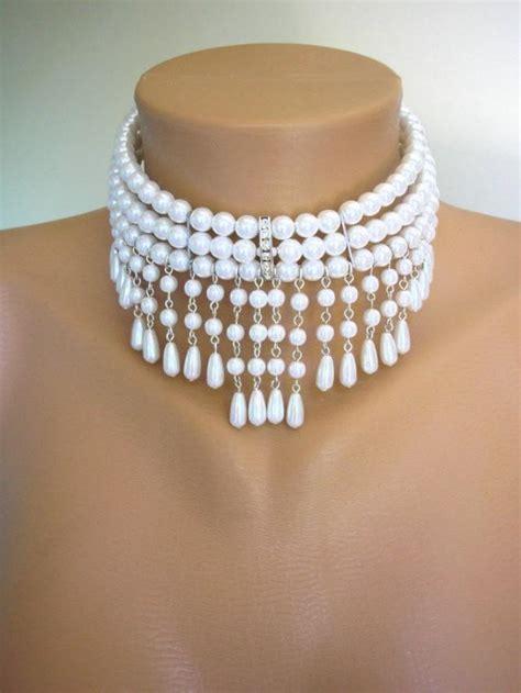 pearl collar white pearl choker bridal necklace great gatsby bridal set pearl necklace pearl