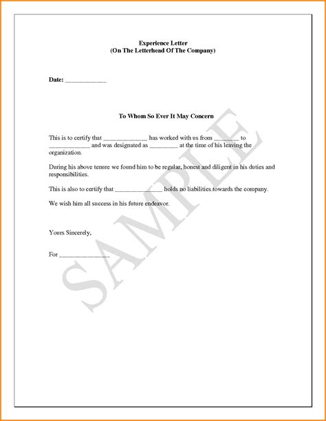 10  experience letter sample pdf format   Financial
