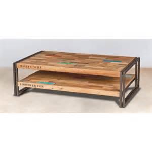 table basse indus 2 plateaux