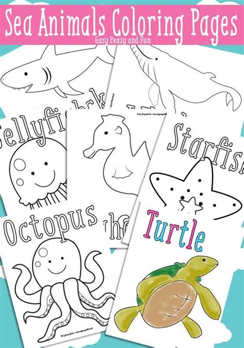 easy peasy coloring pages ocean and sea animals coloring pages free printable