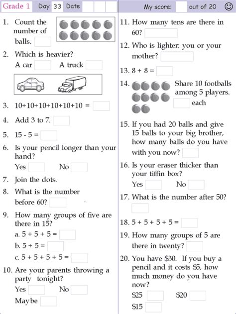 Grade 1 Math Worksheets by Grade One Math Worksheets Addition Subtraction Counting Brain Teaser Worksheets 1year 1