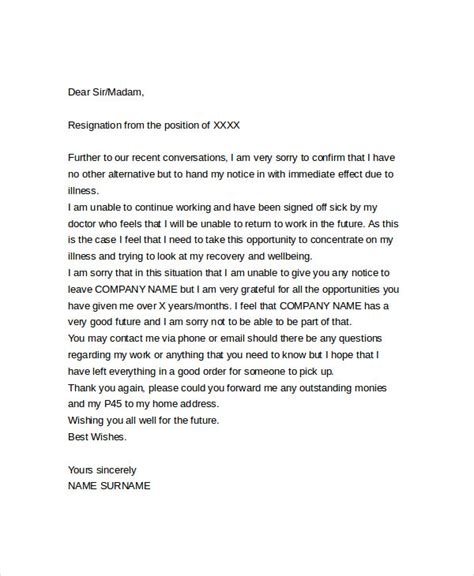 resignation letter due to illness doc immediate resignation letter templates 5 free word pdf