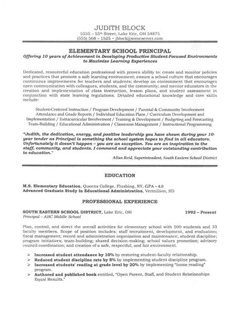 School Principal Resume Sles by School Administrator Principal S Resume Sle Curriculum Resume Cv And Teaching