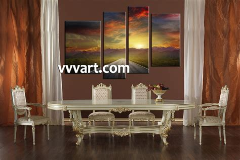 piece sunset mountain colorful canvas photography